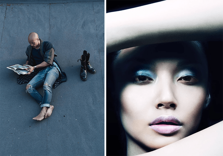 fashion portrait of a guy reading while laying on the floor and beauty portrait of an asian girl with makeup