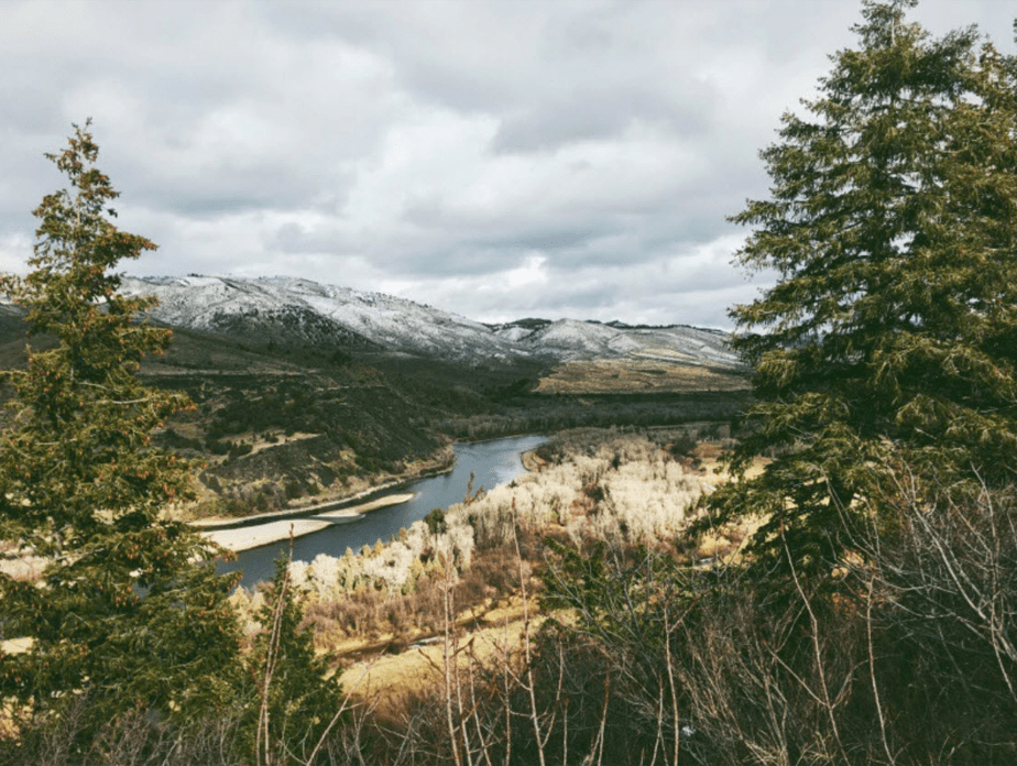 winter film photo of a mountain landscape with trees framing the image of snowy mountains and a river