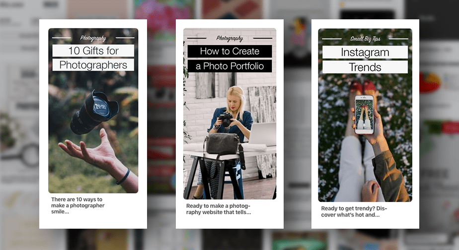pinterest pins for photography blog articles