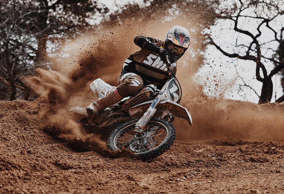 motocross rider leaving a trail of dust