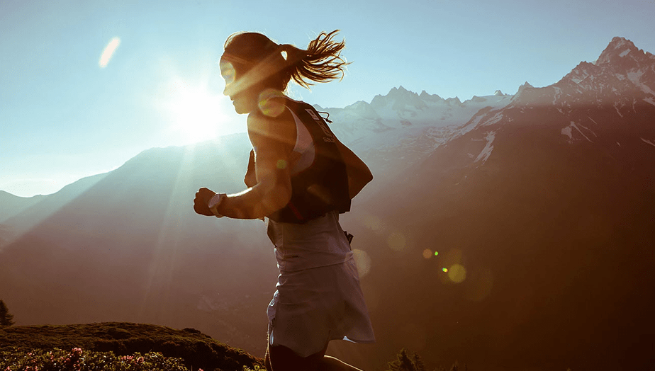 girl running on mountains